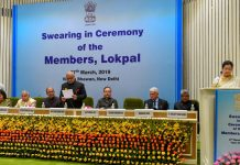 Lokpal chairperson Justice PC Ghose at the swearing-in ceremony of Lokpal members | Shahbaz Khan/PTI