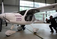 An electric two-seater plane stands in Oslo airport | Odin Jaeger/Bloomberg