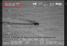 Screen shot of the snorkel of the Indian submarine shown by Pakistan Navy in its video
