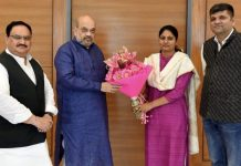 BJP president (left) with Apna Dal leader Anupriya Patel