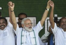 PM Narendra Modi, Tamil Nadu CM K. Palaniswami and PMK founder Ramadoss join hands during a public rally | PTI