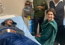 Congress General Secretary Priyanka Gandhi Vadra visits Bhim Army chief Chandrashekhar Azad at a hospital in Meerut | PTI