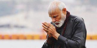 File photo of PM Modi taking a dip at the Sangam in Prayagraj during the Kumbh Mela | narendramodi/Instagram