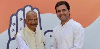 File photo of Sukh Ram with Congress president Rahul Gandhi | @airnewsalerts/Twitter