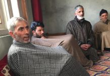 L-R: Ghulam Hassan Dar, father of Adil Dar, the Hizbul Mujahideen militant, with his relatives at his house in Gundibagh, Pulwama | Moushumi Das Gupta/ThePrint