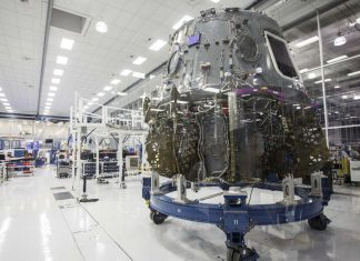 The Crew Dragon at SpaceX headquarters in Hawthorne, California