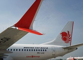 A grounded Lion Air Boeing Co. 737 Max 8 aircraft sits at Soekarno-Hatta International Airport Indonesia