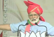 PM Modi speaking at a rally in Kathua, Kashmir
