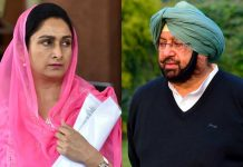 Harsimrat Kaur Badal (L) and Captain Amarinder Singh (R)
