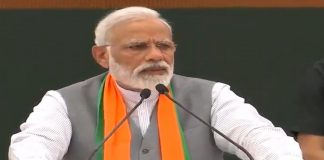 PM Narendra Modi speaking at the BJP manifesto launch