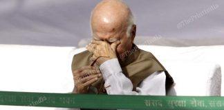 Former deputy prime minister L.K. Advani wipes his eyes at the Ambedkar Jayanti ceremony | Photo: Praveen Jain | ThePrint